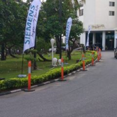 Feather Banners produced for Siemens and installed at Eko Hotel for Siemens function June, 2018 1